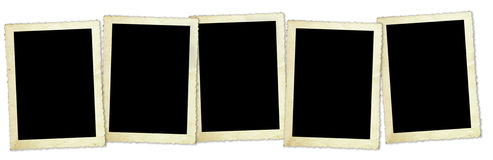 Retro Photo Frames. Five vintage photo frames, with scalloped edges, isolated on white with soft shadows Royalty Free Stock Photography