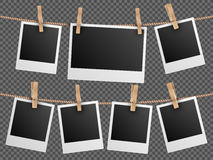 Retro photo frames hanging on rope  checkered transparent background vector illustration. Retro photo frames hanging on rope  on checkered transparent background Royalty Free Stock Photo