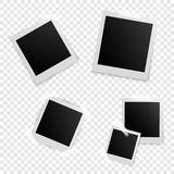 Retro photo frames with shadows. Vintage photo frames on transparent background Royalty Free Stock Image