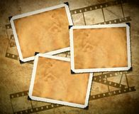 Retro photo framework, old paper, filmstrip Stock Images