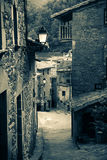 Retro photo of  medieval Catalan village in Pyrenees Stock Photography