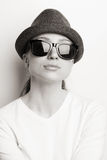 Retro Photo Of A Girl In Sunglasses Stock Photo