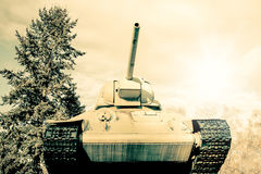 Retro photo of an old Sherman tank Stock Photo
