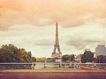 Retro photo with paris, france, vintage Stock Photos