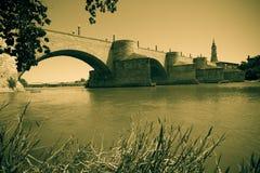 Retro photo of Stone Bridge over Ebro Royalty Free Stock Photography