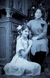 Retro photo of Teen girls with mother Royalty Free Stock Images