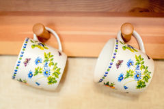 Retro photo of two mugs Royalty Free Stock Photos