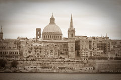 Retro photo of Valletta Stock Images