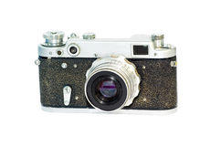 Retro photocamera. Old photocamera isolated on white Royalty Free Stock Images