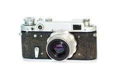 Retro photocamera. Old photocamera isolated on white royalty free stock images