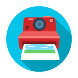 Retro photocamera icon in flat style isolated on white background. Hipster style symbol stock vector illustration. Stock Photo