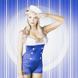 American pinup poster girl in military uniform Royalty Free Stock Images