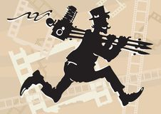 Retro photographer. Running photographer in retro style with old-time camera on tripod vector illustration