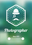 Retro photographer banner on blurred background. Old photographer banner and logotype Royalty Free Stock Photos