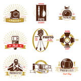 Retro Photographer Label Set. With gold and red ribbons different titles on photography theme vector illustration Royalty Free Stock Photo