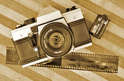 Retro photography. Old mechanical camera with film, retro photography concept Royalty Free Stock Image