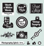 Retro Photography Labels and Stickers. Collection of vintage style photography labels and badges Royalty Free Stock Photo