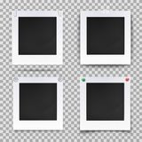 Retro photography square empty frames. Set of isolated vintage photography empty frames or blank photo or image backdrop. Retro camera picture for wall Royalty Free Stock Images