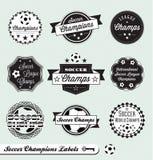 Retro Piłki nożnej Ligowe Etykietki i Majchery Obraz Stock