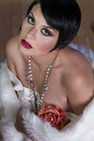Retro, piękna seksowna brunetka, Obrazy Royalty Free