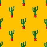 Retro piante senza cuciture del cactus per il modello domestico del fondo dell'illustrazione nel vettore Immagini Stock Libere da Diritti