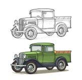 Retro pickup truck. Side view. Vintage black engraving. Retro pickup truck. Side view. Vintage color engraving illustration for poster, web. Isolated on white stock illustration
