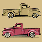 Retro pickup truck. Vector illustration Stock Photos
