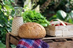Retro picnic.jpg. Retro picnic with homemade bread, lettuce and strawberries in the garden Stock Photography