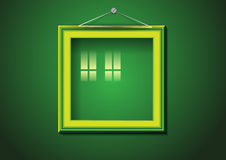 Retro picture frame on green wall Royalty Free Stock Photo
