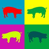 Retro pigs. Vector art illustration; more drawings in my gallery Stock Image
