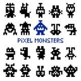 Retro piksel przestrzeni potwory ilustracja wektor