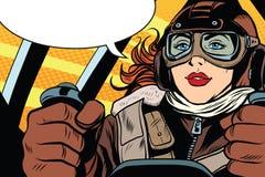 Retro- Pilot des Mädchens im Flugzeug lizenzfreie abbildung