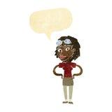 retro pilot- kvinna för tecknad film med anförandebubblan Arkivbilder