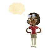 retro pilot- kvinna för tecknad film med tankebubblan Arkivbild