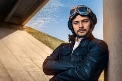 Retro Pilot Portrait with Glasses and Vintage Helmet Royalty Free Stock Photography
