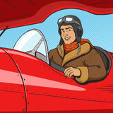 Retro pilot in vintage plane pop art style vector Stock Image