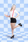 Retro pin-up girl in full. Beautiful slim figure Royalty Free Stock Images