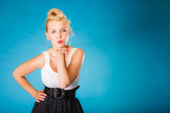 Retro pin up girl sending kiss. Royalty Free Stock Photos