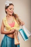 Retro pin up girl shopping Royalty Free Stock Images