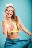 Retro pin up girl talking. Stock Images