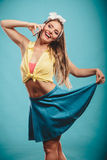 Retro pin up girl talking. Royalty Free Stock Photography