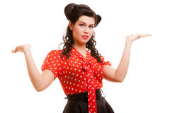 Retro pin-up girl young woman shrugging her sholders isolated Royalty Free Stock Photos