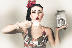 Retro pin up poster girl. Wash and clean service Stock Images