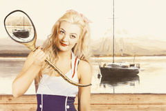 Retro pin up sailor woman with nautical periscope Royalty Free Stock Images