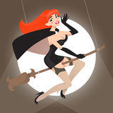 Retro pin-up witch Stock Image
