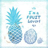 Retro pineapple illustration Stock Images