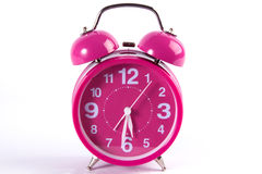 Retro pink alarm clock isolated on white Royalty Free Stock Photos