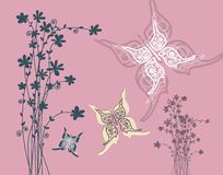 Retro Pink Background with Flowers Silhouette. And Butterflies Vector Flat Design Illustration vector illustration