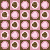 Retro pink and brown circles and squares collage Stock Images