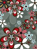 Retro pink brown flower power Stock Images